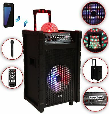 Karaoke Anlage mobile PA Lautsprecherbox Trolley USB SD MP3 Wireless LED DMS®