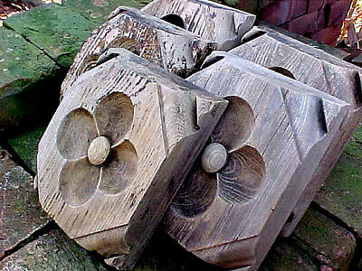 5 Antique Victorian Carved Wood Rosette Block Plinth Shabby Chic Architectural