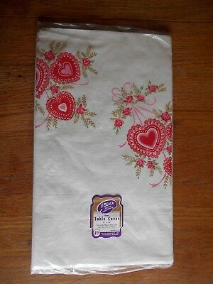 VINTAGE 50's 60's Beach VALENTINE ROSES HEART PAPER TABLECLOTH SEALED 54 x 96