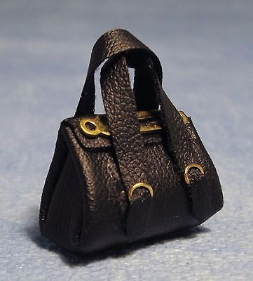1:12 Scale Ladies Black Soft Hand Bag Dolls House Miniatures Clothing Accessory