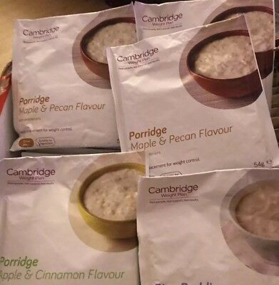 Cambridge Weight Plan Diet Apple & Cinnamon Maple & Pecan Porridge X 8 Breakfast