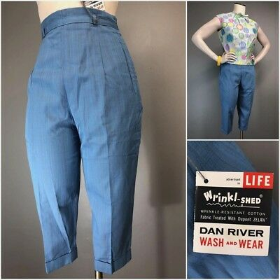 Vtg 50s Pants 60s Atomic Fleck High Waist Capris Cigarette Side Zip COTTON NOS