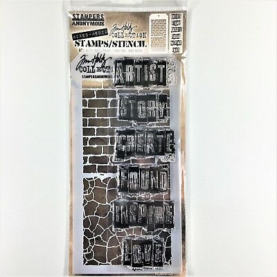 Tim Holtz Stampers Anonymous Graffiti Clear Stamp & Stencil Set Mixed Media