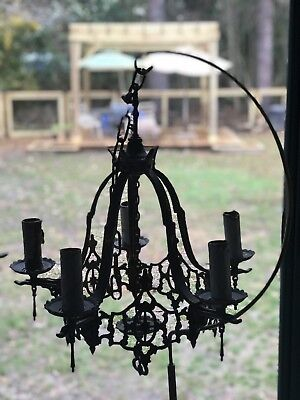 Antique Five Arm Gothic Style Iron-Mixed Metal Chandelier