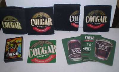 Collection of  items advertising Cougar Bourbon - Playing Cards, holders,etc