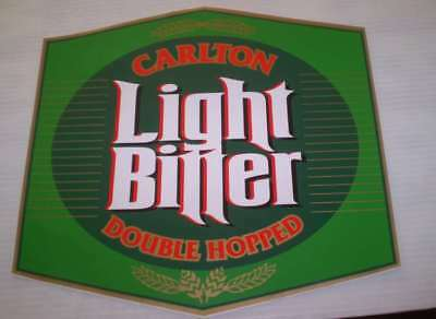 Great old beer sticker- LARGE  30CMS HIGH For the mans shed  CARLTON LIGHT