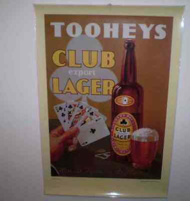 Vintage Repro of 1930 advertising poster   61 by 41 cms  Tooheys Club Lager