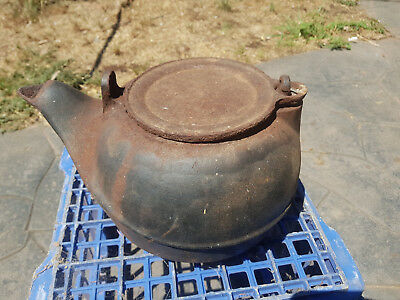 Vintage/ Antique Used Old Metal Cast Iron Kitchenware Kettle Pot, Camping Kettle