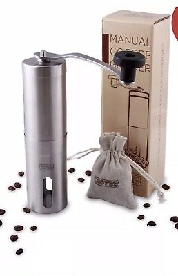 DH2 Manual Coffee Grinder with Ceramic Burrs, Brushed Stainless Steel