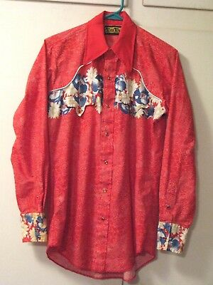 Vtintage TEM TEX Long Sleeve WESTERN SHIRT~Piping~PEARL SNAPS~Red Floral