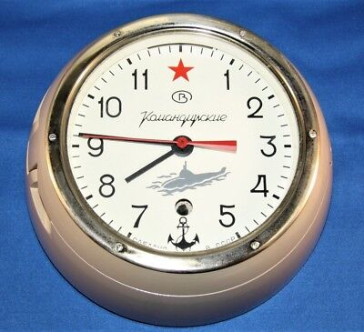 Vintage Russian Red Star Ussr Submarine Cabin Wall Clock - Great Condition!!!