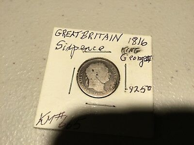 1819 Great Britain 6 Pence Silver Foreign Coin