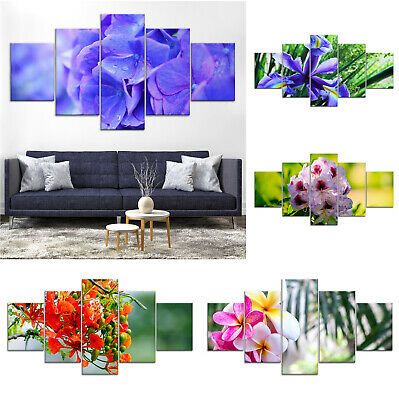 Blooming Blossom Flowers Canvas Print Painting Framed Home Decor Wall Art 5Pcs