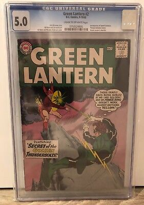 Green Lantern #2 - Cgc 5.0 - 1St Qward Universe - Crm/ow Pages