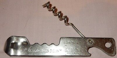 OASIS Bottle Opener Corkscrewr Can Piercer Squire & Sons UK Rd No 888293 c1958