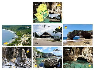 AK Niue Island South Pacific Alofi Airport Country Map Avaiki Caves New Postcard