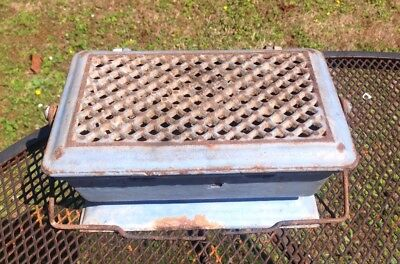 Antique French Foot warmer Cast Iron Enamelled In Blue chaufferette