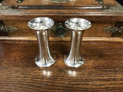 Silver Fluted Spill Vases By James Deakin & Sons 1898