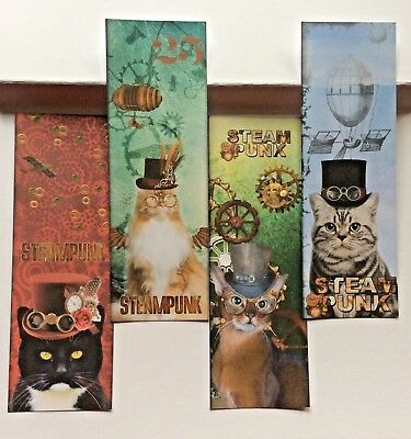 4 x Steampunk Cats  BOOKMARKS