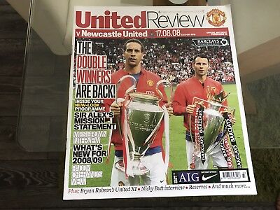 Manchester United V Newcastle United. August 2008. Match Programme.