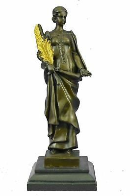 Bronze Sculpture of NIKE VICTORIA Goddess of Victory w/ Gold Patina Palm Branch