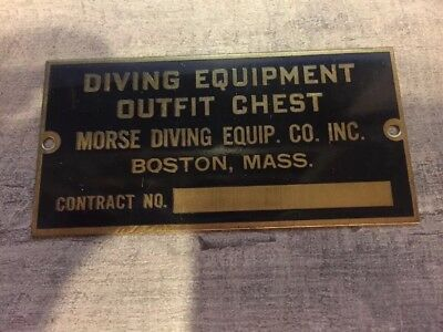 Antique Morse Diving Equipment Outfit Chest Plate Plaque New Old Stock