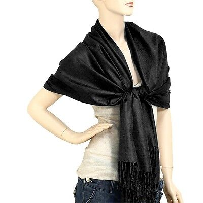 Scarf Poncho Shawl Wrap Tartan Ruana Pashmina Spring Summer Solid Black Cover