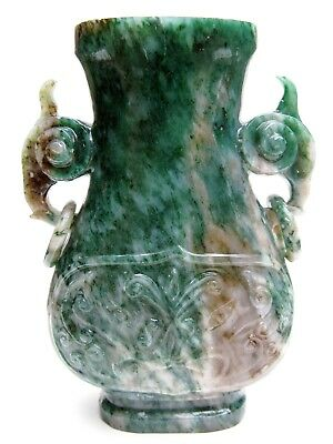 Vintage Asian Spinach Jade Relief Urn Vase - Elephant Handles With Loose Rings