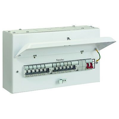 NEWLEC - 8 Way Populated METAL Consumer Unit C/W RCDs / MCBs / INCOMER - **NEW**