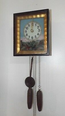 RARE 1890s French Reverse Painted Wall Clock Wood & Brass Works EARLY RUNS GRT