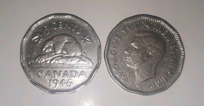 CANADA Best Offer 1946 Canadian Nickel 5 Cent George VI