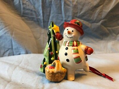 Longaberger Snowman and Tree Ornament, painted pottery