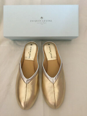 1eec385041f366 Jacques Levine  4640 Womens Wedge Slipper Size 8.5 Gold Silver New in Box