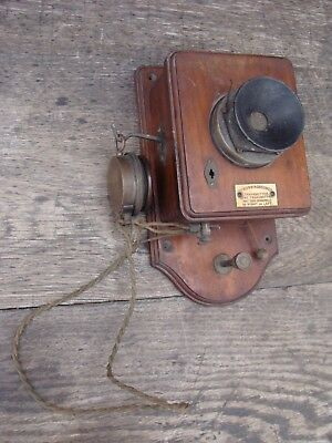 Antique HUNNINGSCONE Patent Walnut WALL TELEPHONE Give Transmitter & Receiver