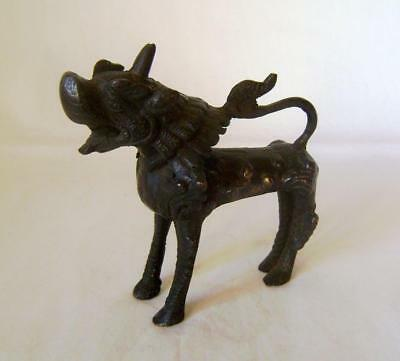 Antique Chinese Nepalese Bronze Brass Lion Dog Figure:  Dog of Foo: 11 cm long