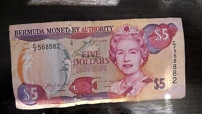 $5 Five Dollars banknote 2000 BERMUDA MONETARY AUTHORITY circulated