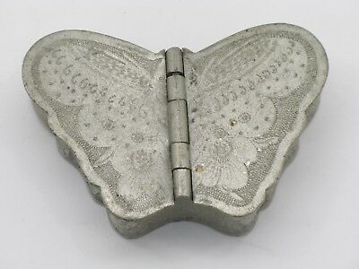 Early Chinese Etched Pewter Butterfly Snuff Box