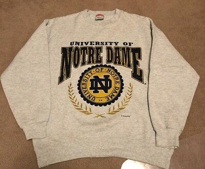 Vintage Nutmeg Mills University Of Notre Dame NCAA Gray Sweater LARGE Made USA