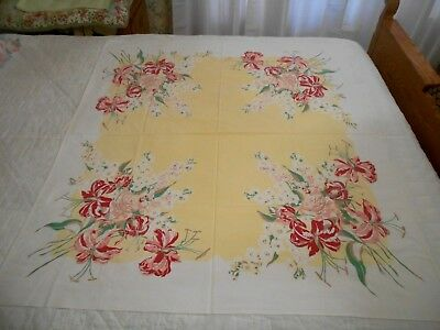 "Vtg Cotton Blend Tablecloth Pink Red Roses Hibiscus Yellow White 52""x46"" NICE"