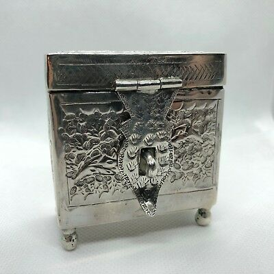 Antique Small Ornate Silver Casket with 2 Perfume Bottles - Beautiful