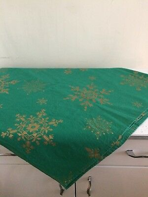 """Vintage Cotton Christmas Tablecloth Green with Gold Snowflakes 51"""" x 52"""" inches"""