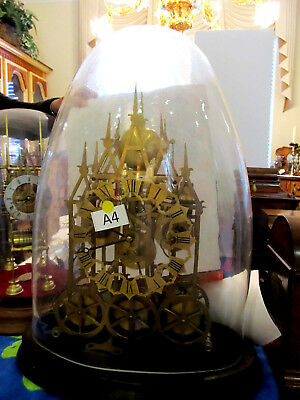 Rare Triple Fusee Quarter Chime 5 Bells Skeleton Clock Antique Glass Dome