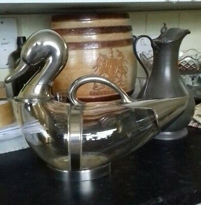 Antique Silver Plated duck  Decanter