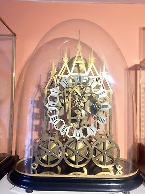 Rare Triple Fusee 5 Bells Chiming Skeleton Clock Under Glass Dome.