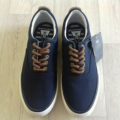M&S 6 (39.5) Mens Canvas Shoes Plimsoles Trainers Navy Blue white Lace Up NEW