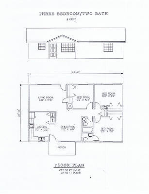 1092 square foot three bedroom house plan