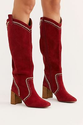 97764b5548ac FREE PEOPLE  Jeffrey Campbell Lolita Knee Boot Red Suede 8M  New    278