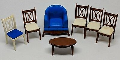 Lot of 7 Pieces of Marx Reliable Doll House Furniture Plastic Chair Armchair
