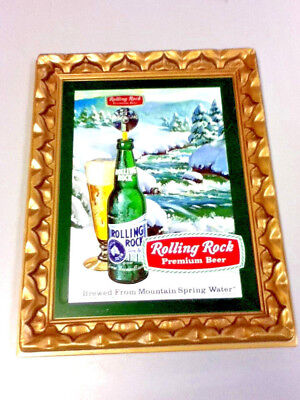 Rolling Rock beer sign pressed formed plastic framed picture display vintage KY2