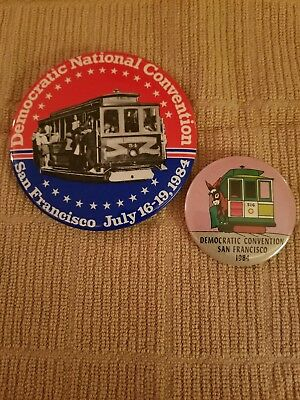 Two 1984 Democratic National Convention Buttons/Badges - San Francisco Trolley